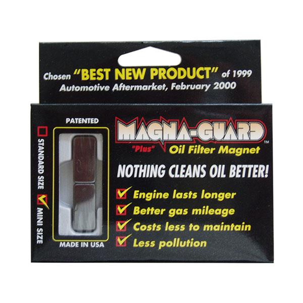 Magna-Guard Oil Filter Magnet. Mini Size is shown here in retail packaging.